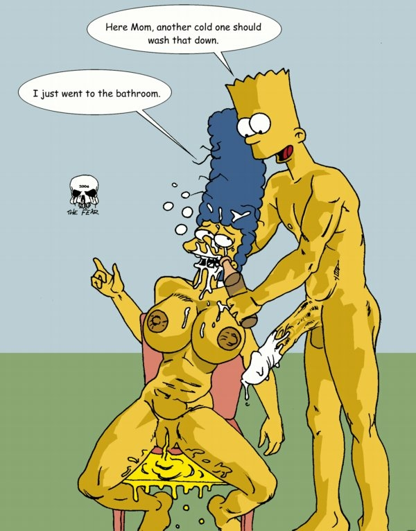 bart naked with simpson marge 02 darling in the franx
